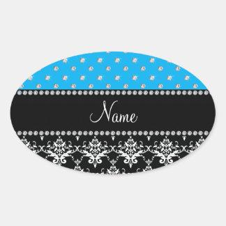 Personalized name black damask sky blue diamonds stickers