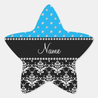 Personalized name black damask sky blue diamonds star sticker