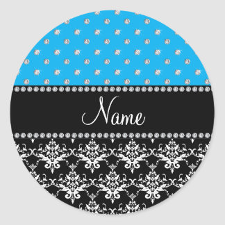 Personalized name black damask sky blue diamonds sticker