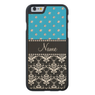 Personalized name black damask sky blue diamonds carved® maple iPhone 6 case
