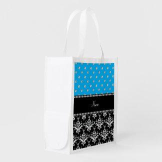 Personalized name black damask sky blue diamonds reusable grocery bag