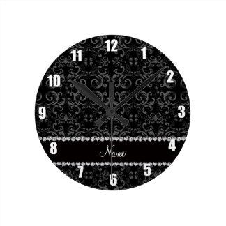Personalized name black damask swirls wall clock