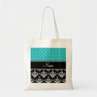 Personalized name black damask turquoise diamonds bag
