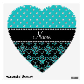 Personalized name black damask turquoise diamonds room decal