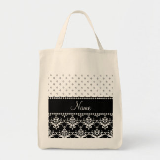 Personalized name black damask white diamonds canvas bags