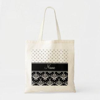 Personalized name black damask white diamonds bags