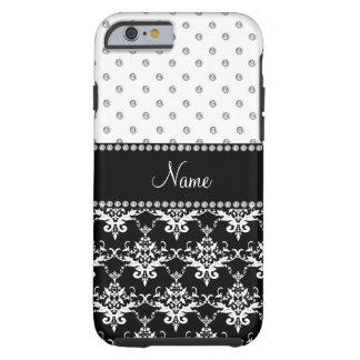 Personalized name black damask white diamonds tough iPhone 6 case