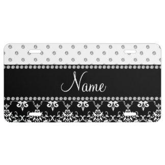 Personalized name black damask white diamonds license plate