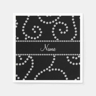 Personalized name black diamond swirls paper napkin