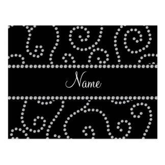 Personalized name black diamond swirls postcard