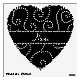Personalized name black diamond swirls room sticker