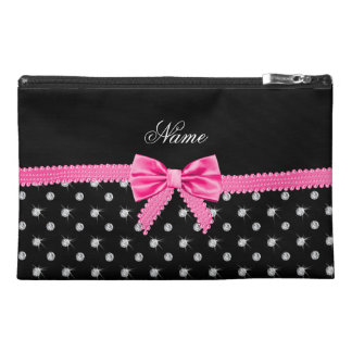 Personalized name black diamonds pink bow travel accessory bags