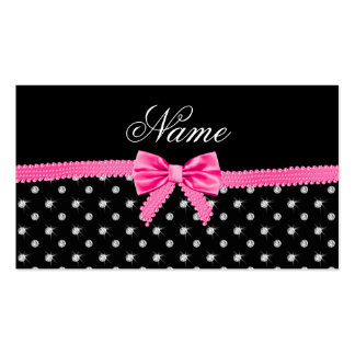 Personalized name black diamonds pink bow business card templates