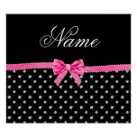 Personalized name black diamonds pink bow poster