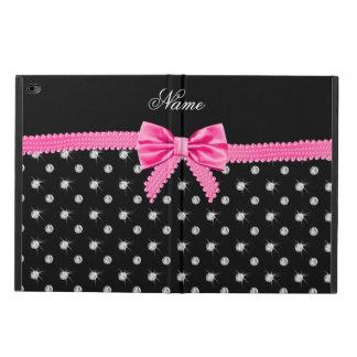Personalized name black diamonds pink bow powis iPad air 2 case