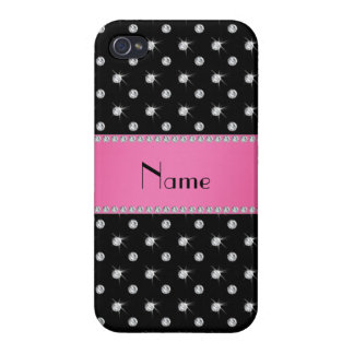 Personalized name black diamonds pink stripe iPhone 4/4S case