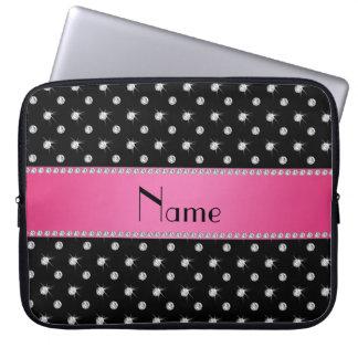 Personalized name black diamonds pink stripe laptop computer sleeve