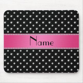 Personalized name black diamonds pink stripe mouse pad