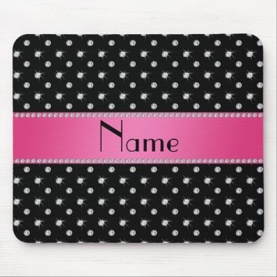 Personalized name black diamonds pink stripe mouse pads