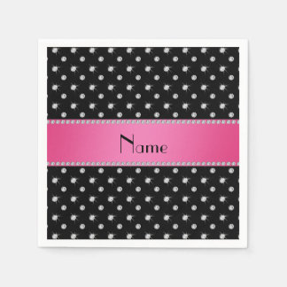 Personalized name black diamonds pink stripe paper napkin
