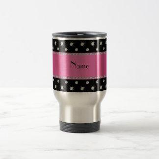 Personalized name black diamonds pink stripe travel mug