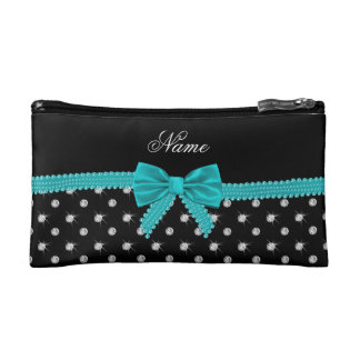 Personalized name black diamonds turquoise bow cosmetics bags