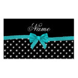 Personalized name black diamonds turquoise bow Double-Sided standard business cards (Pack of 100)