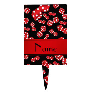 Personalized name black dice pattern cake pick