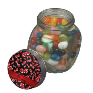 Personalized name black dice pattern glass candy jar