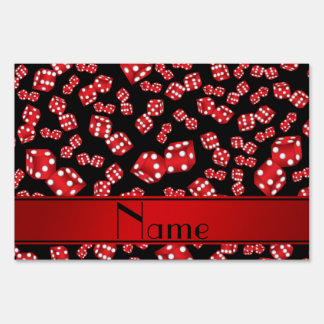 Personalized name black dice pattern lawn sign