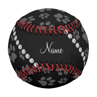 Personalized name black dog paw prints baseball