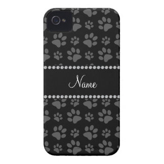 Personalized name black dog paw prints iPhone 4 cases