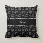 Personalized name black dog paw prints pillow