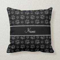 Personalized name black dog paw prints throw pillow