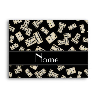 Personalized name black dominos envelope