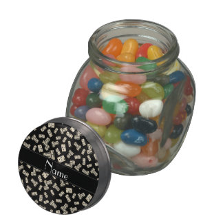 Personalized name black dominos jelly belly candy jars