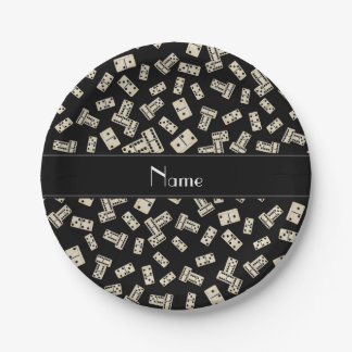 Personalized name black dominos paper plate