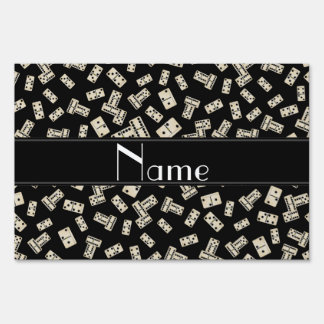 Personalized name black dominos lawn signs