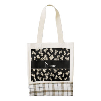 Personalized name black dominos zazzle HEART tote bag