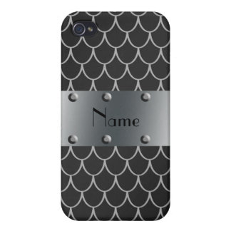 Personalized name black dragon scales cases for iPhone 4