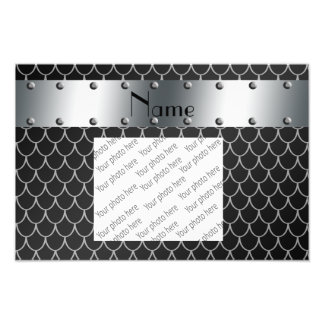 Personalized name black dragon scales photographic print