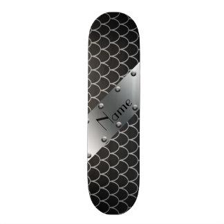 Personalized name black dragon scales skate board deck