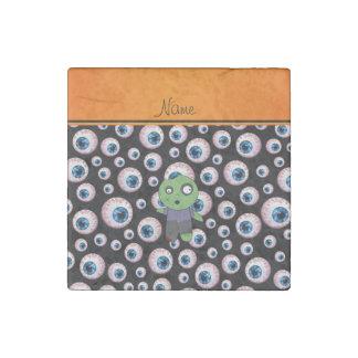 Personalized name black eyeballs zombie stone magnet