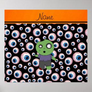 Personalized name black eyeballs zombie poster