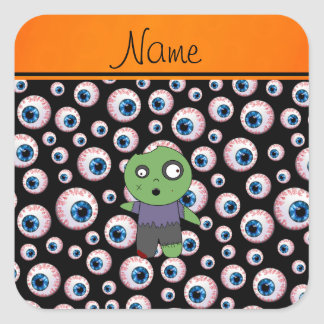 Personalized name black eyeballs zombie square stickers