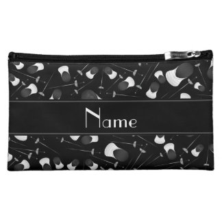 Personalized name black fencing pattern makeup bags