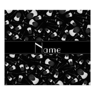 Personalized name black fencing pattern poster
