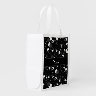 Personalized name black fencing pattern market totes