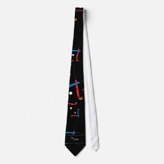 Personalized name black field hockey pattern tie