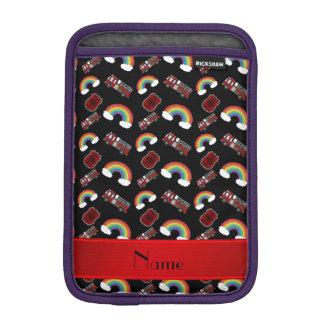 Personalized name black fire trucks rainbows iPad mini sleeve